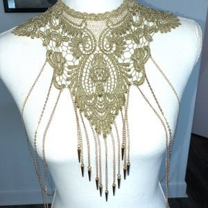 Beautiful body Necklace antique Gold